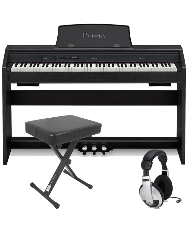 Casio Privia PX-760 88-Key Digital Piano Black with Bench and Headphones