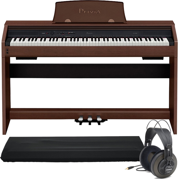Casio Privia PX-760 88-Key Digital Piano Brown with Dust Cover and Samson Headphones