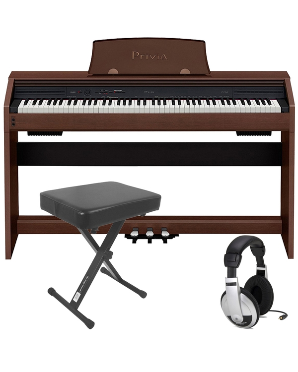 Casio Privia PX-760 88-Key Digital Piano Brown with Bench and Headphones