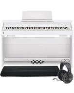 Casio Privia PX-760 88-Key Digital Piano White with Dust Cover and Samson Headphones