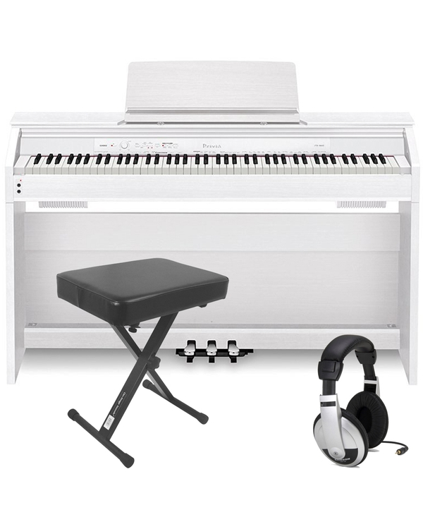 Casio Privia PX-760 88-Key Digital Piano White with Bench and Headphones