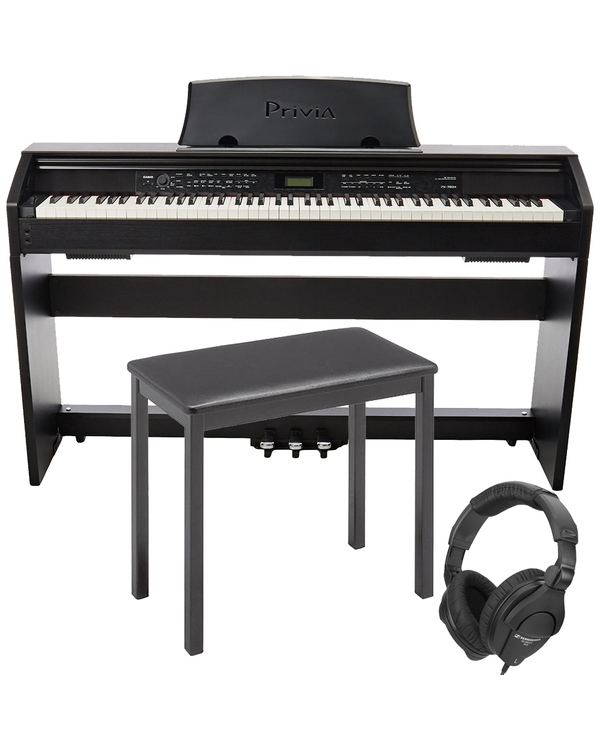 Casio Privia PX-780 88-Key Digital Piano with CB7 Keyboard Bench and Senheiser Headphones
