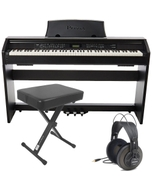 Casio Privia PX-780 88-Key Digital Piano with Keyboard Bench and Samson Headphones
