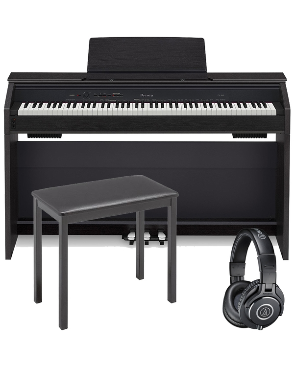 Casio Privia PX-860 88-Key Digital Piano Black with CB7 Bench and Audio Technica Headphones