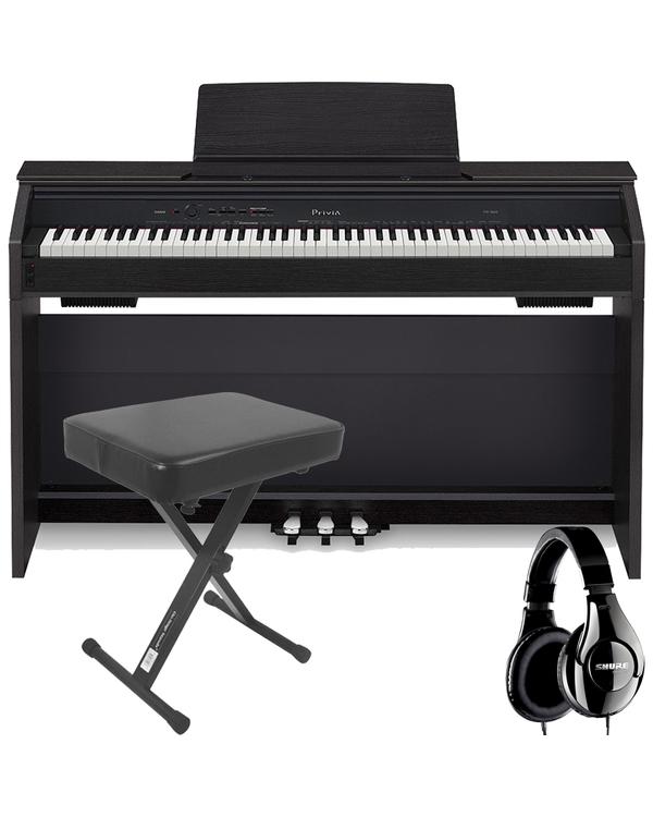 Casio Privia PX-860 88-Key Digital Piano Black with Bench and Studio Headphones