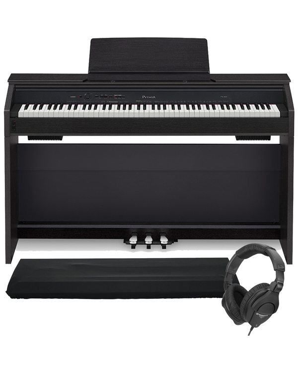 Casio Privia PX-860 88-Key Digital Piano Black with Dust Cover and Sennheiser Headphones