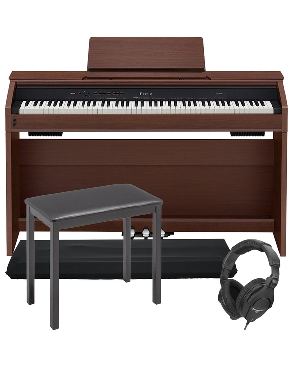 Casio Privia PX-860 88-Key Digital Piano Brown with CB7 Bench, Dust Cover, and Headphones