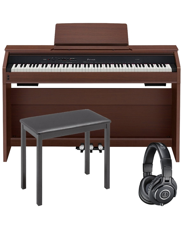 Casio Privia PX-860 88-Key Digital Piano Brown with CB7 Bench and Audio Technica Headphones