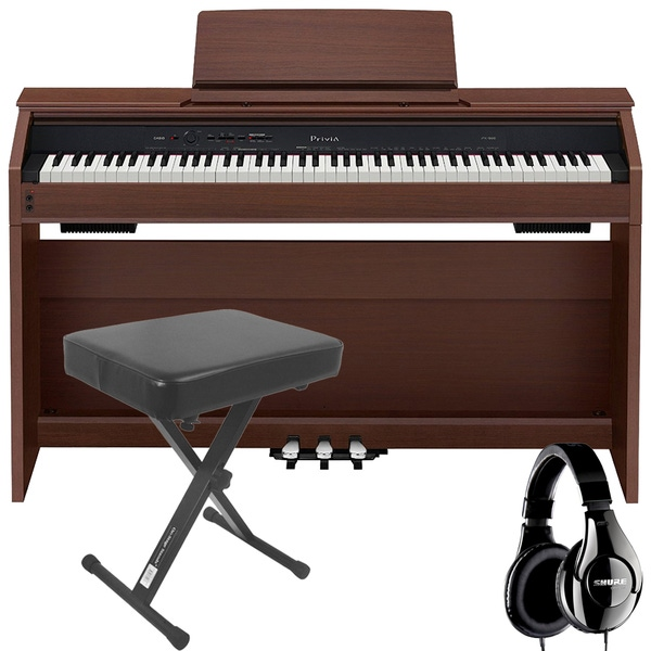 Casio Privia PX-860 88-Key Digital Piano Brown with Bench and Studio Headphones