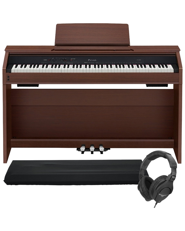 Casio Privia PX-860 88-Key Digital Piano Brown with Dust Cover and Sennheiser Headphones