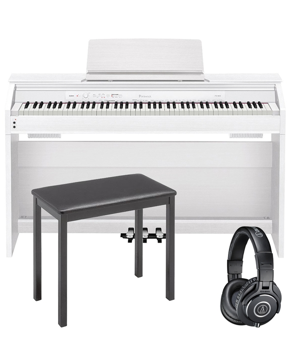 Casio Privia PX-860 88-Key Digital Piano White with CB7 Bench and Audio Technica Headphones
