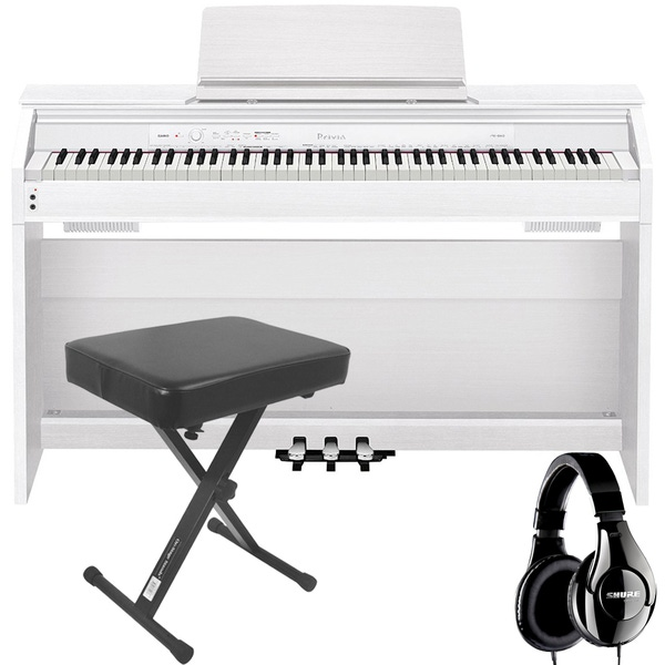 Casio Privia PX-860 88-Key Digital Piano White with Bench and Studio Headphones