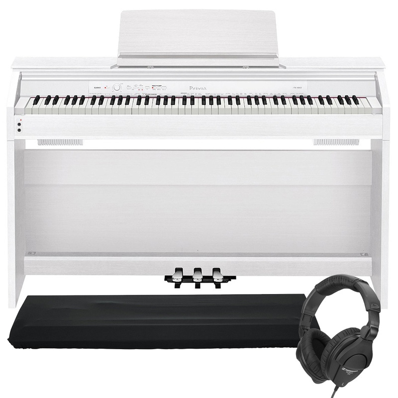 pitbull audio casio privia px 860 88 key digital piano white with dust cover and sennheiser. Black Bedroom Furniture Sets. Home Design Ideas
