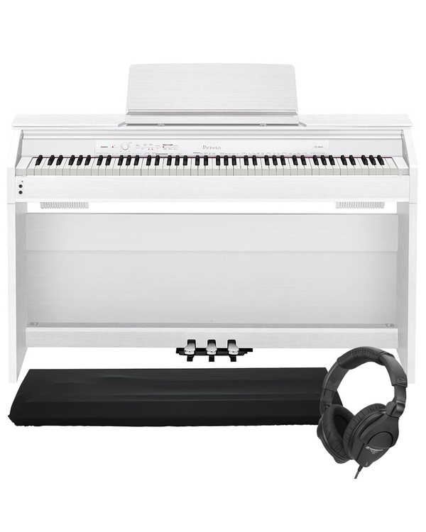 Casio Privia PX-860 88-Key Digital Piano White with Dust Cover and Sennheiser Headphones