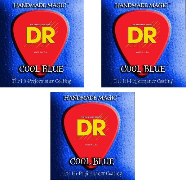 DR Strings 3-Pack K3 CLUE BLUE ELECTRIC BASS CBB-40 40-100 Coated Set