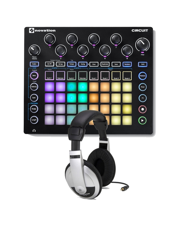 Novation Circuit Groove Box with Ableton Live Lite, 4 GB of Loopmasters Samples, & Headphones