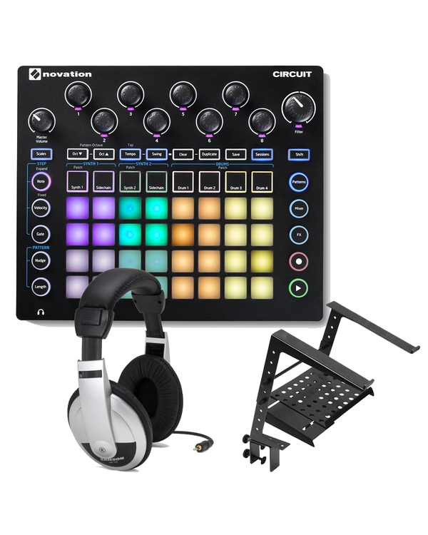 Novation Circuit Groove Box with Ableton Live Lite, 4 GB of Loopmasters Samples, Headphones, & Stand