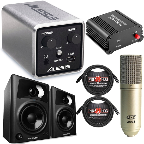Alesis Core 1 Recording Bundle with Mic, Monitors, Cables, Power Supply, Shock Mount, & Cleaning Cloth
