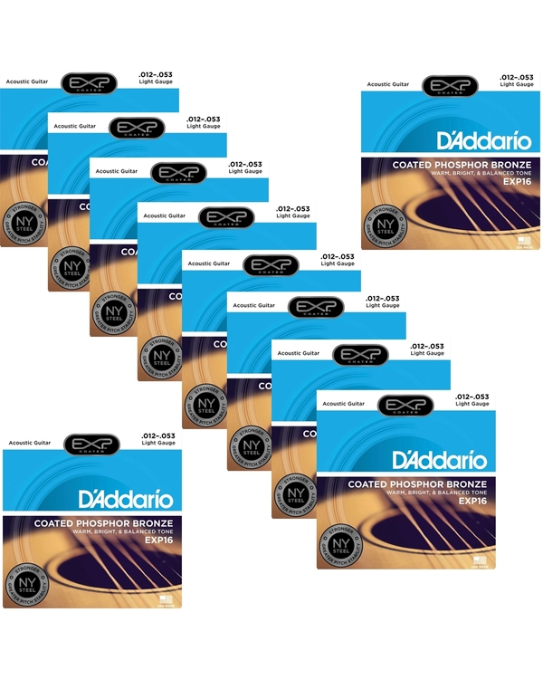 10 Sets of D'Addario EXP16 Coated Phosphor Bronze Acoustic Guitar Strings, Light (12-53)