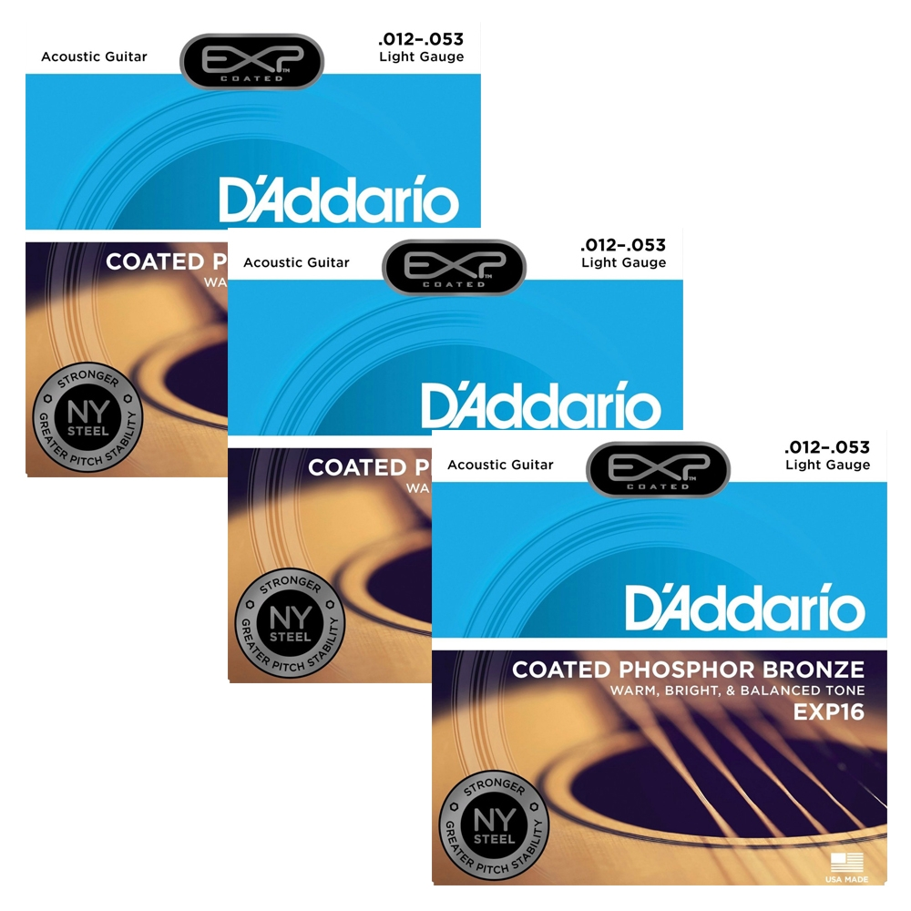 D'Addario EXP16 Coated Phosphor Bronze Acoustic Guitar Strings Light 12-53