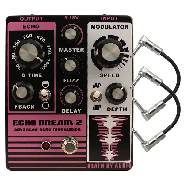 Death by Audio Echo Dream 2 Echo Modulation Guitar Effects Pedal with Patch Cables