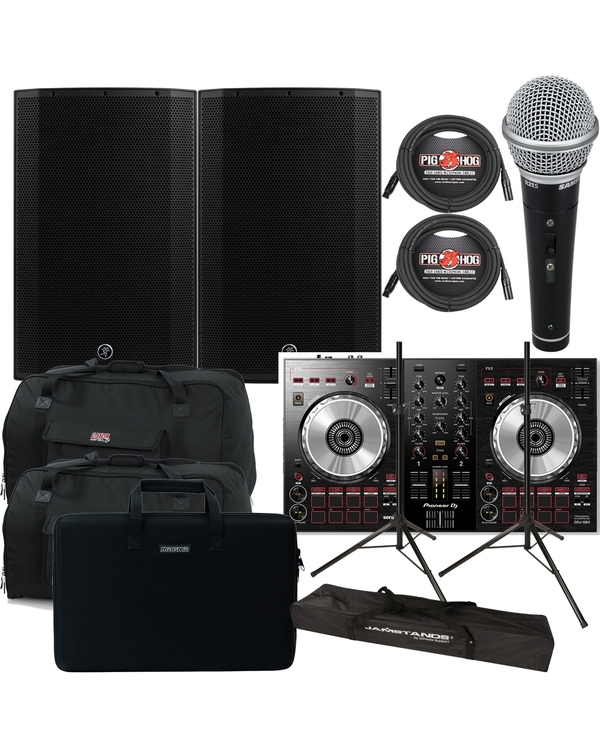 Pioneer DDJ-SB3 DJ Controller + Mackie Thump 15W 1300W Speakers + Bags + Cables + Stands