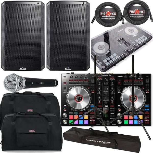 Pioneer DDJ-SR DJ Controller + Alto TS-215 1100W Speakers + Bags + Cables + Stands
