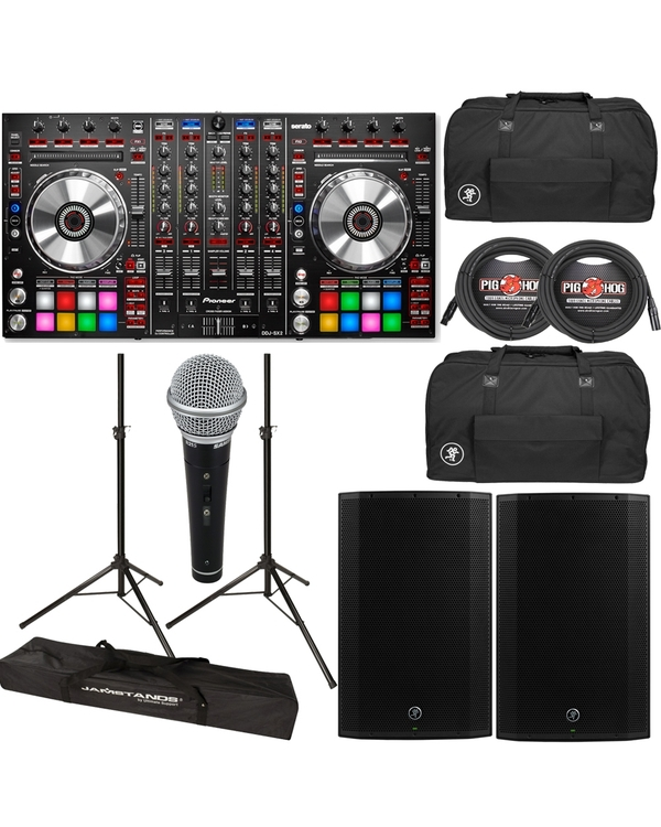 Pioneer DDJ-SX2 DJ Controller + Mackie Thump 15A 1300W Speakers + Bags + Cables + Stands