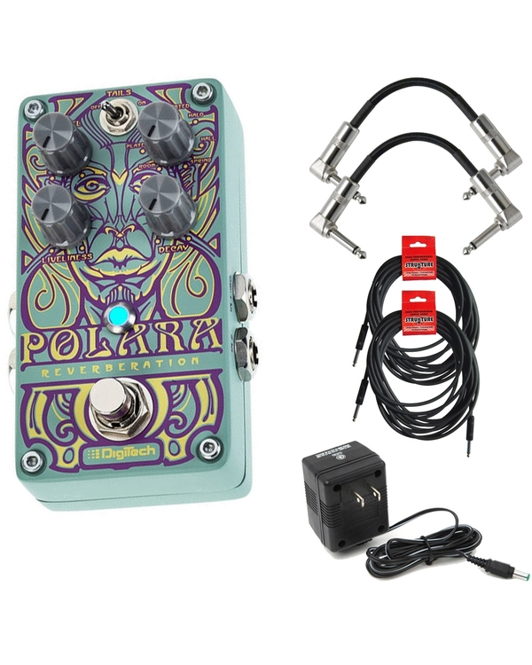DigiTech Polara Stereo Reverb Guitar Effect Pedal with Cables and Power Supply