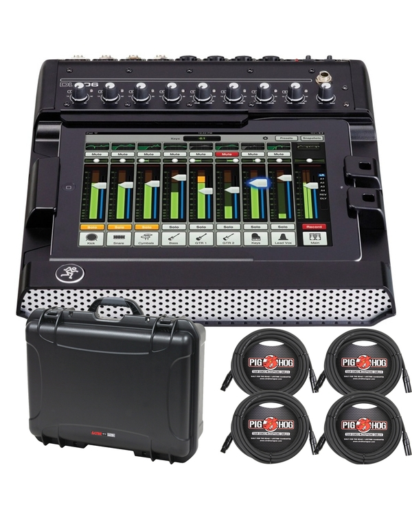 Mackie DL1608 Digital Mixer + Case + Cables Bundle