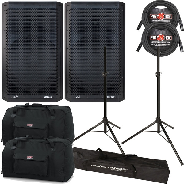 """Peavey DM115 2-Way Powered 15"""" Speakers Pair + Cables + Stands + Bags"""