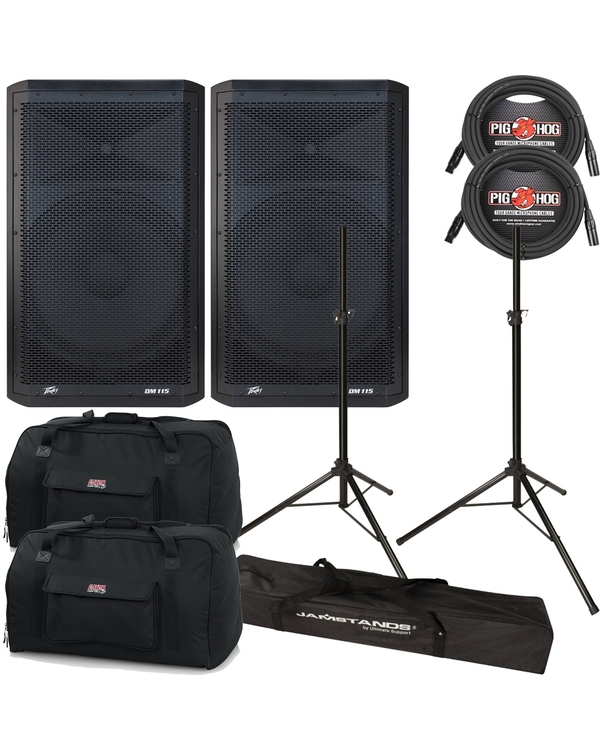 "Peavey DM115 2-Way Powered 15"" Speakers Pair + Cables + Stands + Bags"