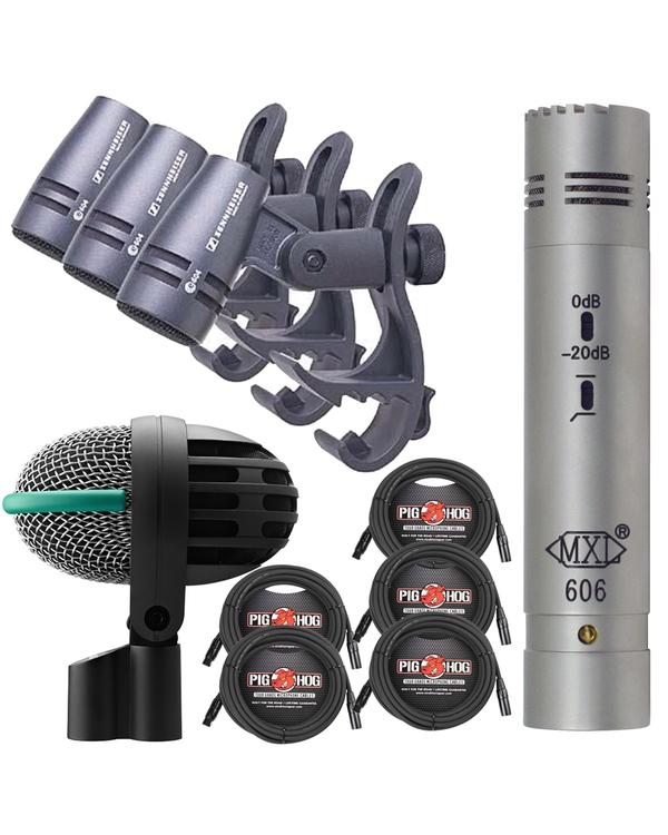 Drum Microphone Bundle, Sennheiser e604 3-Pack, MXL 606, AKG D112, and Cables