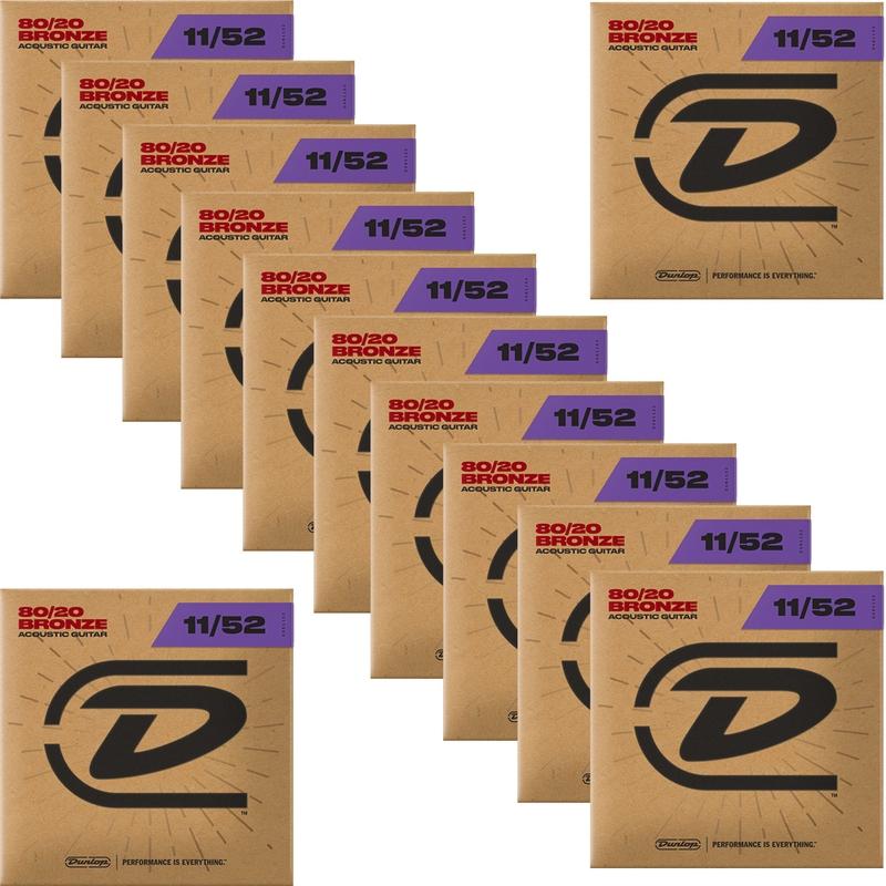 12-Pack Dunlop DAB1152 80/20 Bronze Acoustic Guitar Strings 6-String Set Med Light 11-52