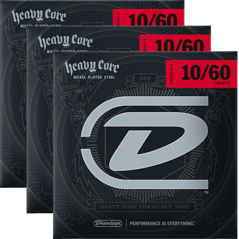 3-Pack Dunlop DHCN1060-6 NPS Heavy Core Nickel Electric Guitar Strings 10-60 Droptune