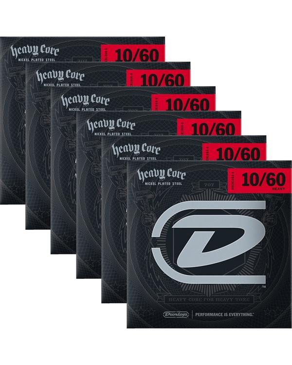 6-Pack Dunlop DHCN1060-6 NPS Heavy Core Nickel Electric Guitar Strings 10-60 Droptune