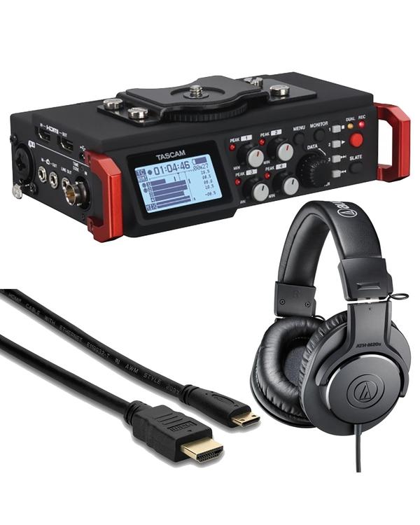 Tascam DR-701D + Audio Technica M20x Headphones & HDMI Cable Bundle