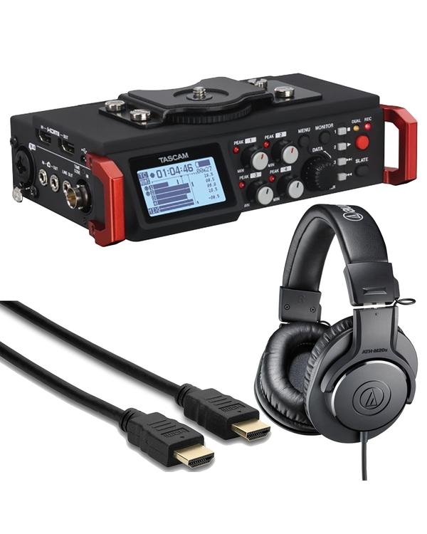 Tascam DR-701D + Audio Technica M20x Headphones + HDMI Cable Bundle