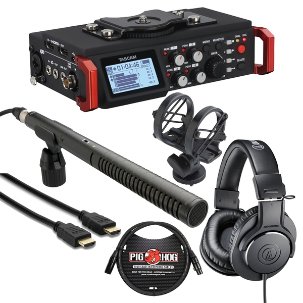Tascam DR-701D + Audio Technica M20x + Rode NTG2 + HDMI Cable Bundle