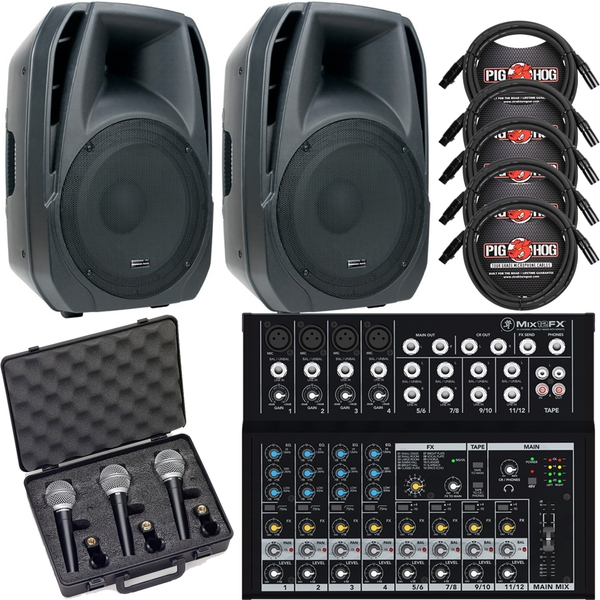 ADJ ELS 15A Powered Speakers + Mackie Mixer + Microphones & Cable Bundle