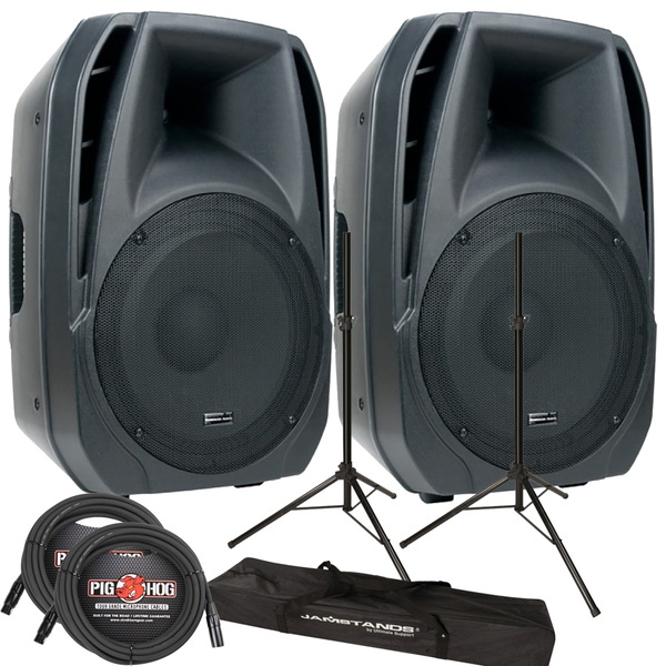 ADJ AMERICAN AUDIO ELS115 POWERED ACTIVE SPEAKER WITH STANDS AND CABLES PA BUNDLE