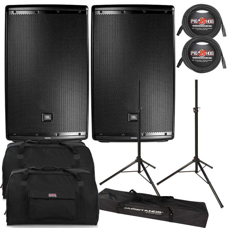 "JBL EON615 1000-Watt 15"" 2-Way Powered Speaker Pair with Gator Tote Bags, Cables, and Stands"