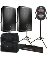 "JBL EON 615 2-Way Powered 15"" Speakers Pair + Cables, Stands + Bags"