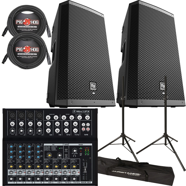 EV ZXL12P POWERED SPEAKERS + MACKIE MIXER +STANDS + CABLES PACKAGE BUNDLE