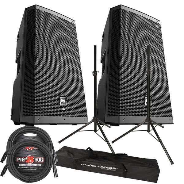 EV ZXL12P POWERED SPEAKERS + ULTIMATE STANDS + CABLES PACKAGE BUNDLE