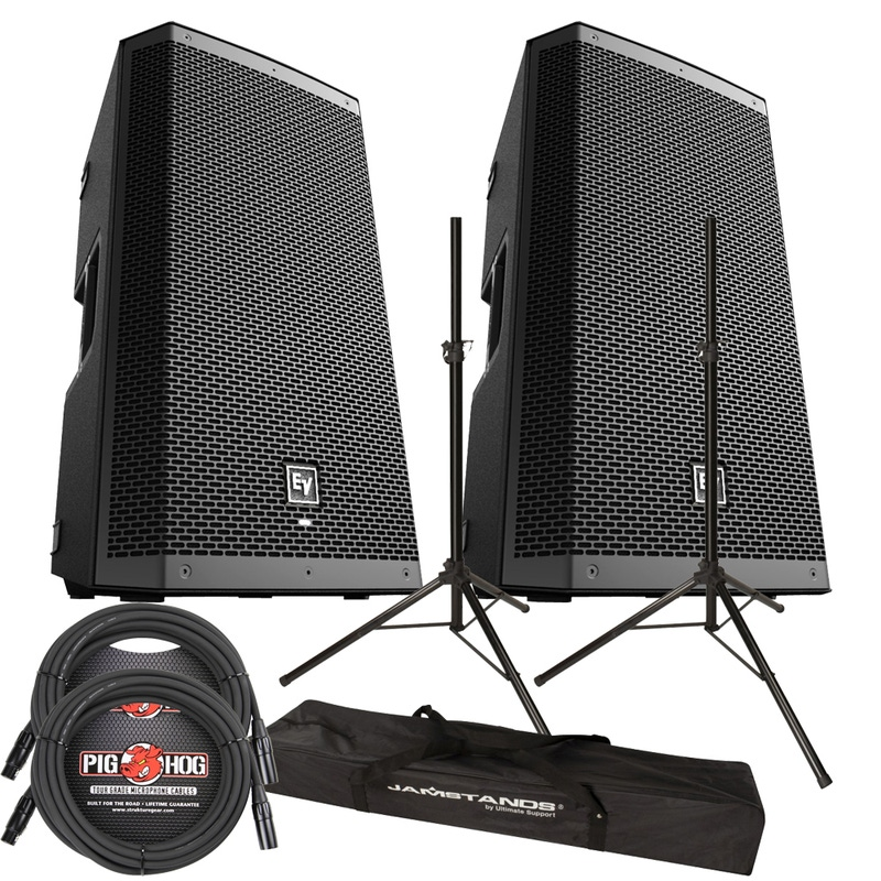 pitbull audio ev zxl12p powered speakers ultimate stands cables package bundle. Black Bedroom Furniture Sets. Home Design Ideas
