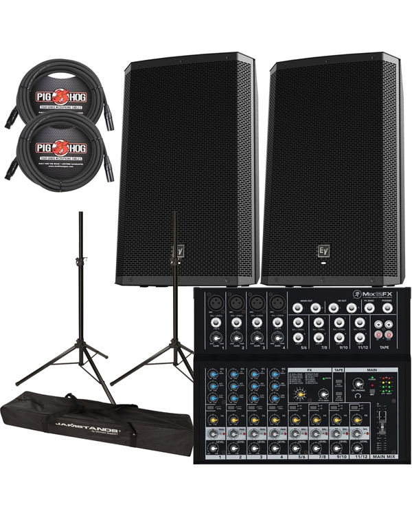EV ZXL15P Powered Speakers, Mackie Mixer & Stands + Cables Bundle
