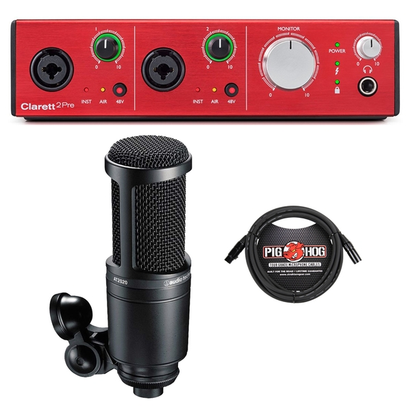 Focusrite Clarett 2Pre Thunderbolt Recording Interface with Audio Technica Microphone and Cable