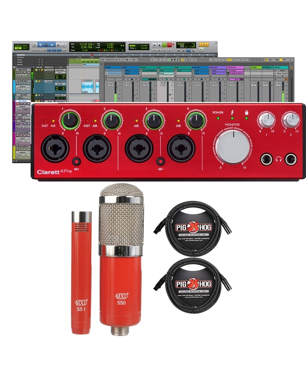 Focusrite Clarett 4Pre Thunderbolt Audio Interface with MXL Microphone Set and XLR Cables