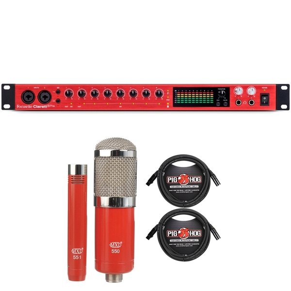 Focusrite Clarett 8Pre Thunderbolt Interface with MXL Microphone Set and XLR Cables